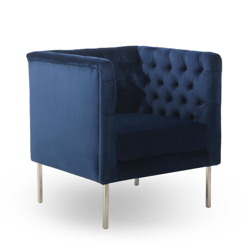 Blue brushed velvet armchair with button detail