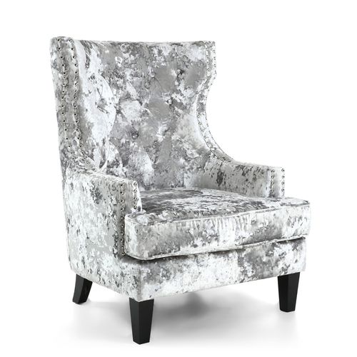Silver brushed velvet armchair