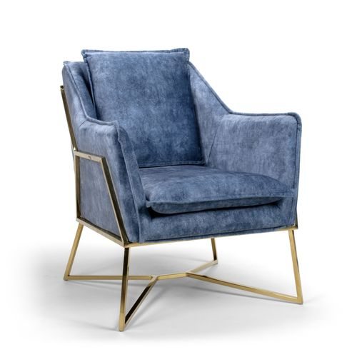 Midnight blue velvet armchair with stylish frame