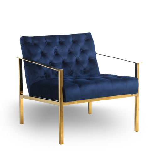 Stylish Blue velvet armchair