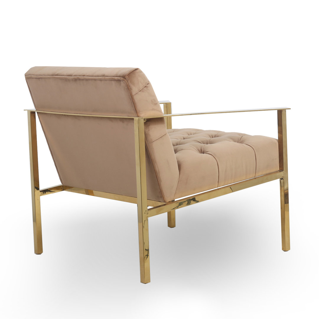 Natural brushed velvet armchair with gold frame - Homegenies