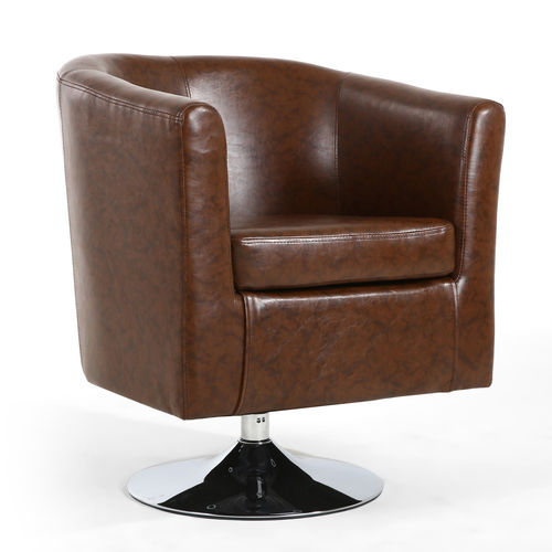 Brown leather match tub chair