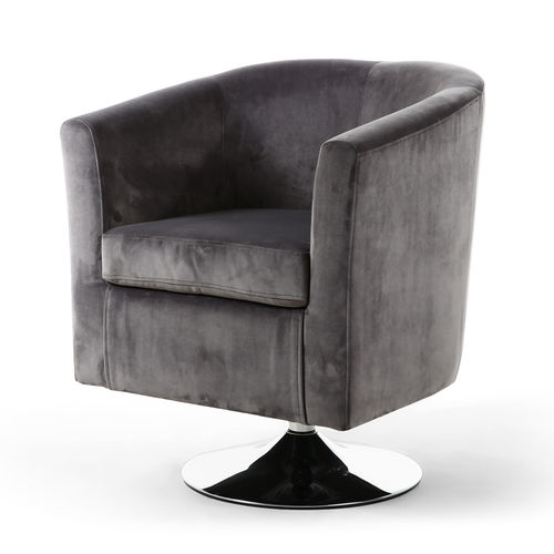 Grey brushed velvet tub chair