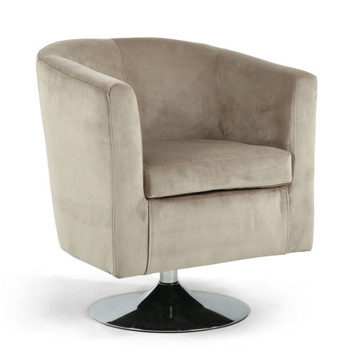 Mink brushed velvet tub chair