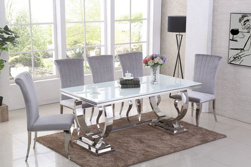 Chrome and white glass dining table and 6 grey chairs