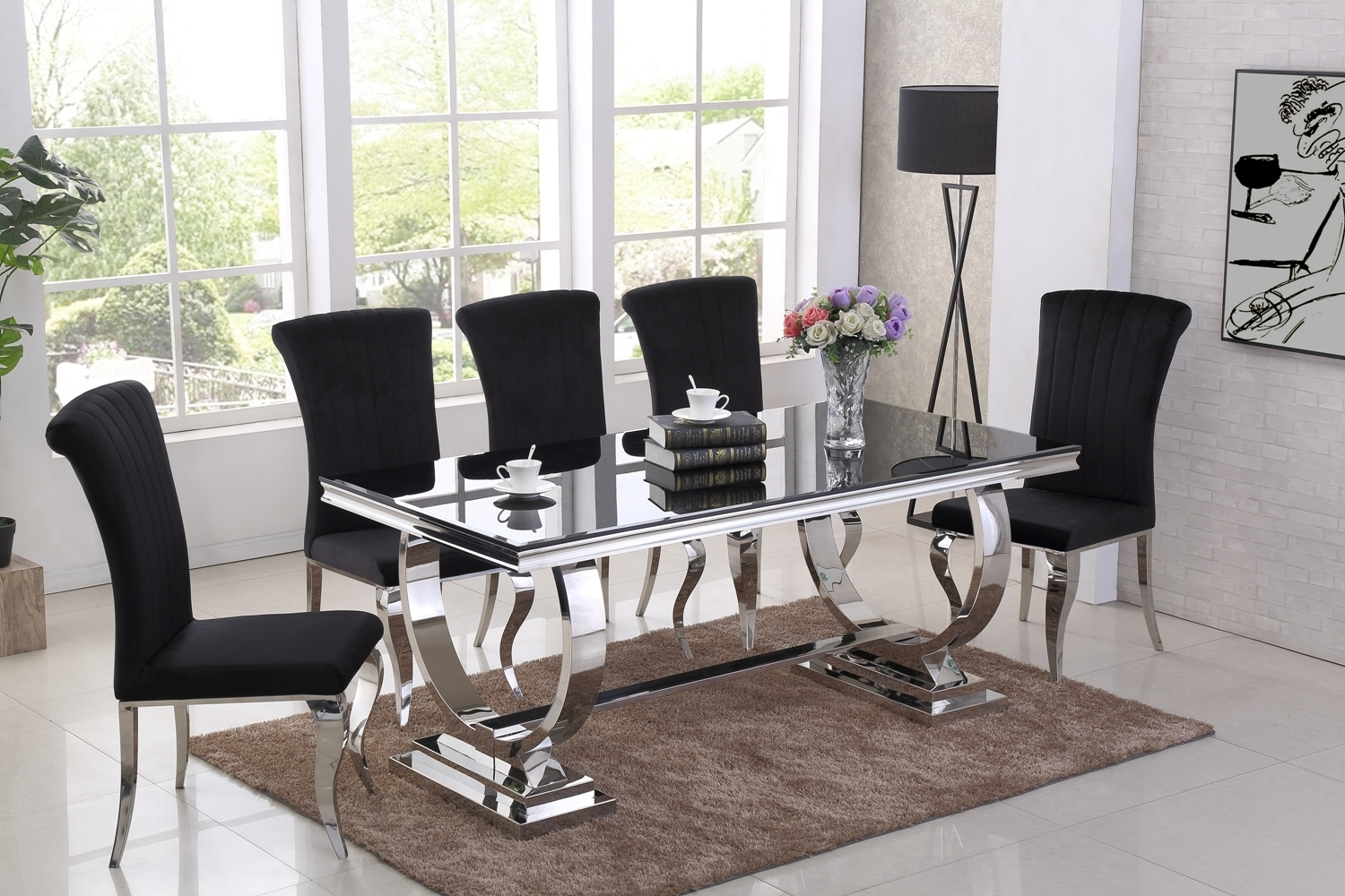 Awesome Velvet Chair Glass Table