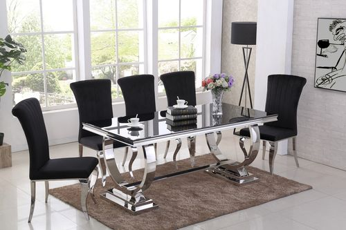 Black glass dining table and 6 black chairs