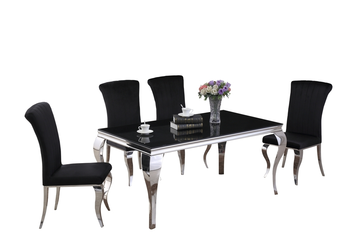 160cm Black Glass Dining Table And 6 Velvet Chairs