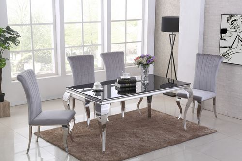 160cm Black glass dining table and 6 grey velvet chairs
