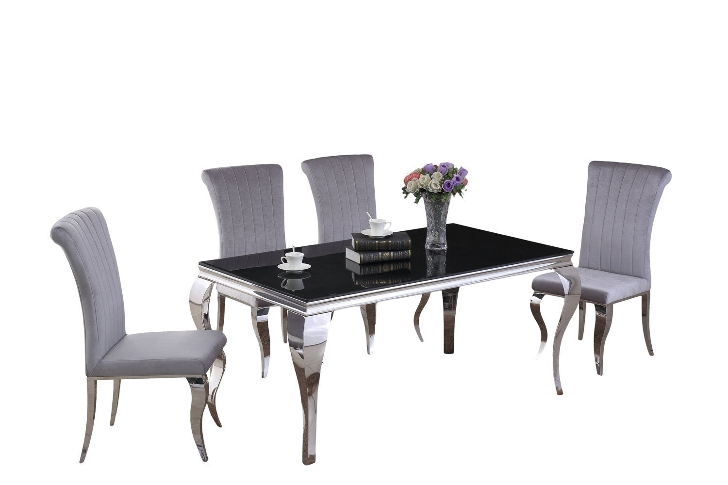 Grey Velvet High Back Dining Chairs: 160cm Black Glass Dining Table & 6 Grey Velvet Chairs