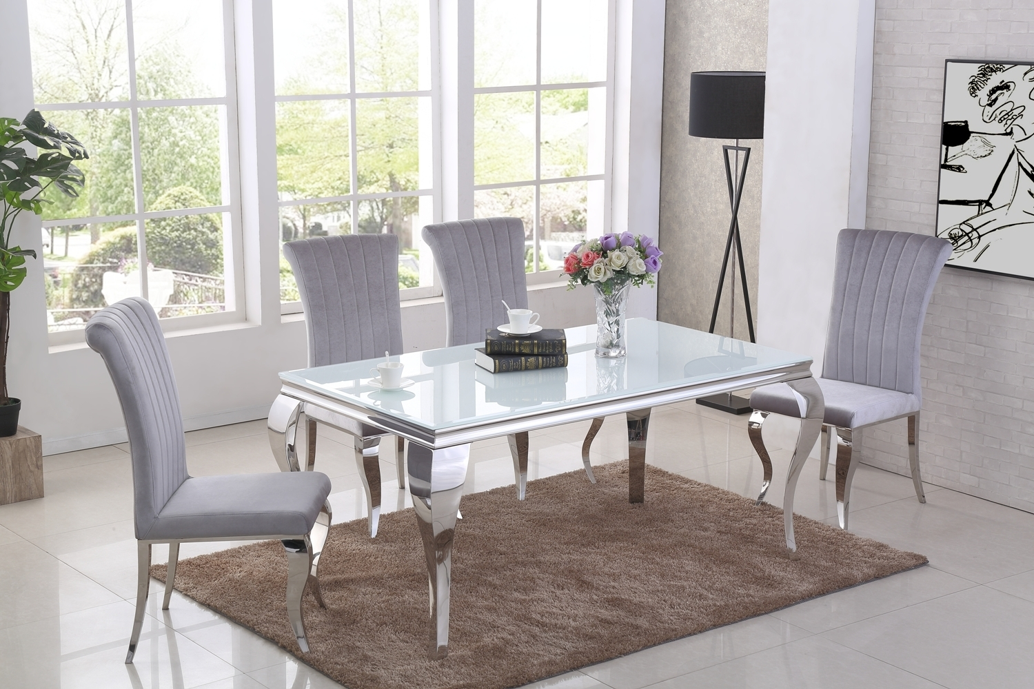 Fine Details About White Glass Dining Table And 6 Grey Velvet Chairs Ncnpc Chair Design For Home Ncnpcorg