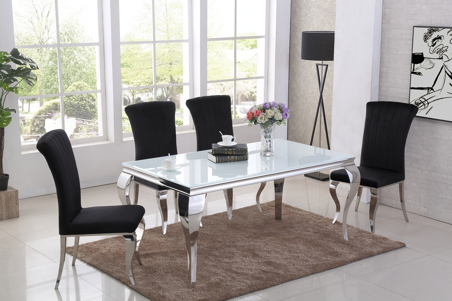 7 white glass dining table and 7 black velvet chairs