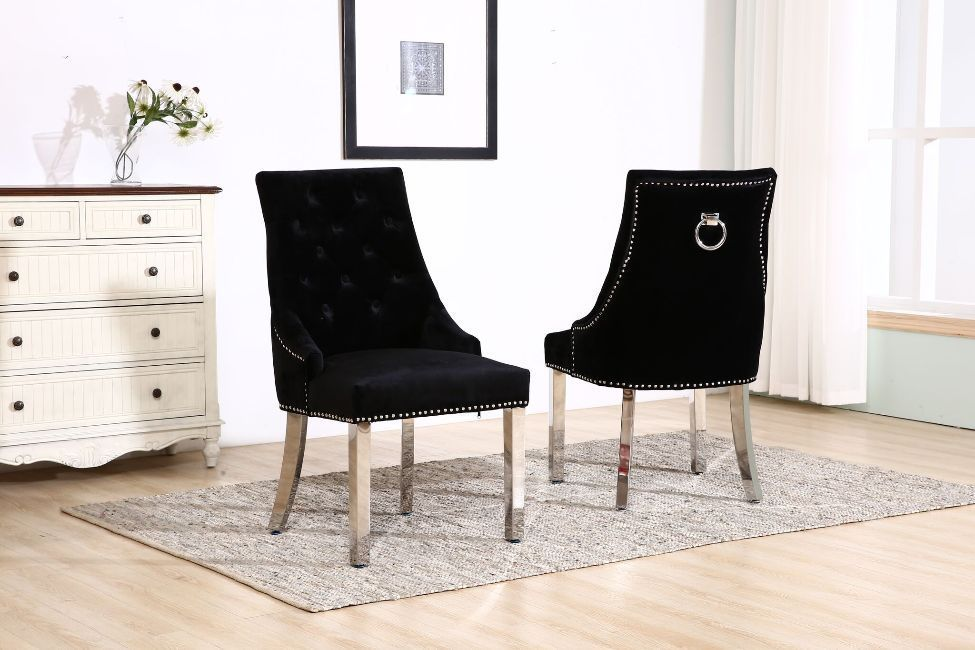 Knocker Black Velvet Dining Chair With Chrome Legs