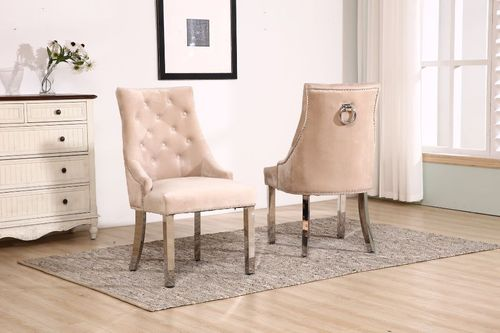 Knocker mink velvet dining chair with chrome legs
