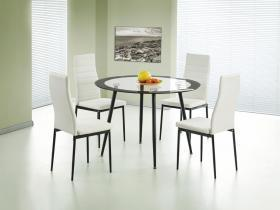 Round Clear glass black boarder dining table set
