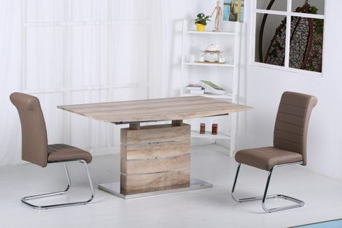 Oak effect dining table and 6 brown chairs