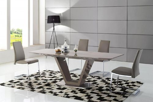 Cappuccino high gloss dining table and 6 chairs