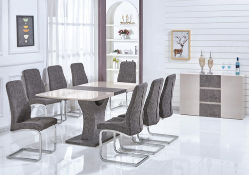 Cream high gloss stone effect dining table & 6 chairs