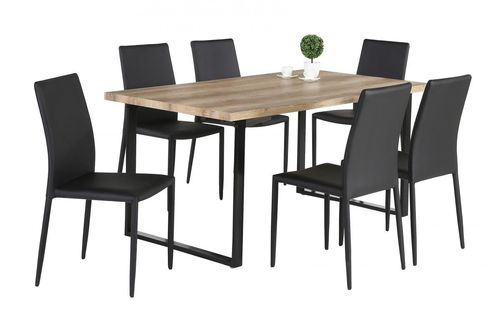 Oak effect dining table with black legs and 6 chairs