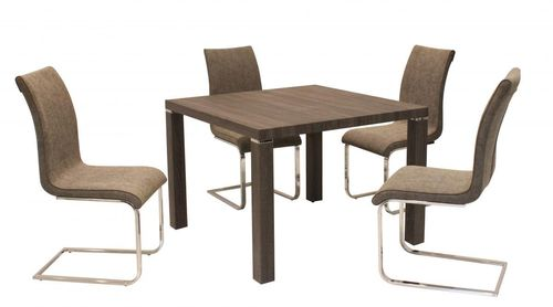 Walnut effect dining table and 4 brown chairs