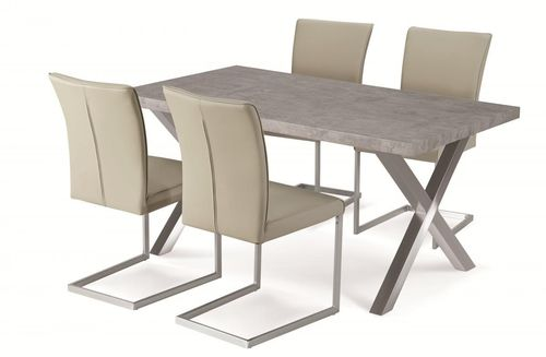 Stone effect dining table and 4 beige chairs