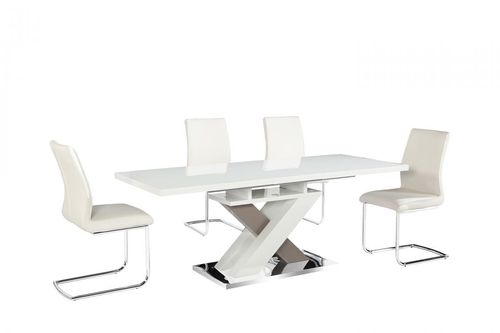 White and Grey high gloss dining table & 6 chairs
