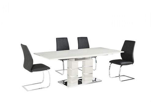 Pillars white high gloss dining table and 6 black chairs