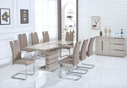 Cappuccino glass and gloss dining table and 6 chairs