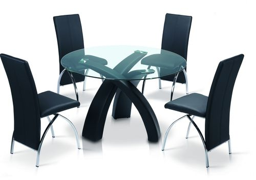 Clear glass dining table with black PU base and 4 chairs