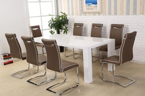 White high gloss 180cm dining table and 8 brown chairs