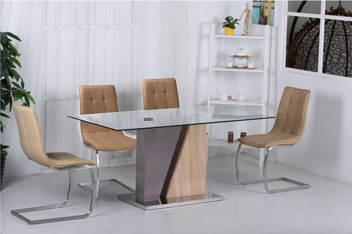 Clear glass dining table and 6 brown chairs