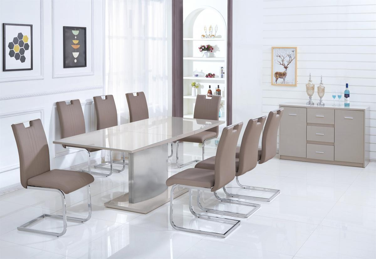 Champagne Gloss With Glass Dining Table And 6 Chairs Homegenies