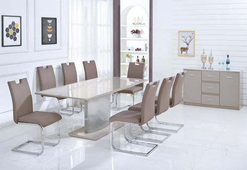 Champagne high gloss with glass dining table and 6 chairs