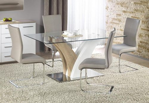 Glass, Gloss & Oak dining table and 6 grey chairs