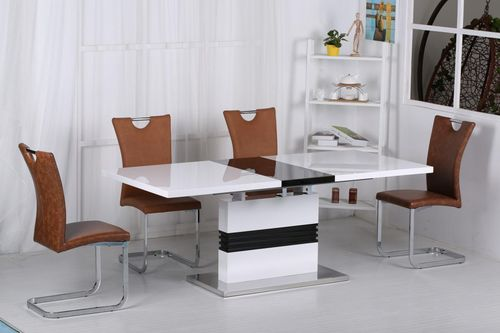 White & Black High Gloss Dining Table and 6 Brown Chairs