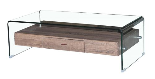 Curved clear glass coffee table with drawer