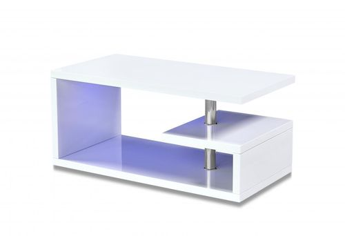 White high gloss LED coffee table