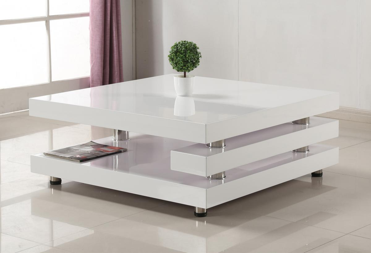 White High Gloss And Stainless Steel Coffee Table Homegenies