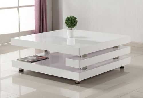 White high gloss and stainless steel coffee table