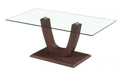 Clear glass coffee table with walnut shaped base