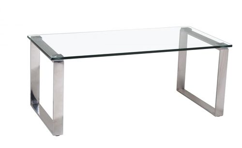 Clear glass coffee table and stainless steel legs