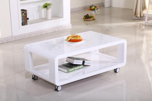 White high gloss coffee table on wheels