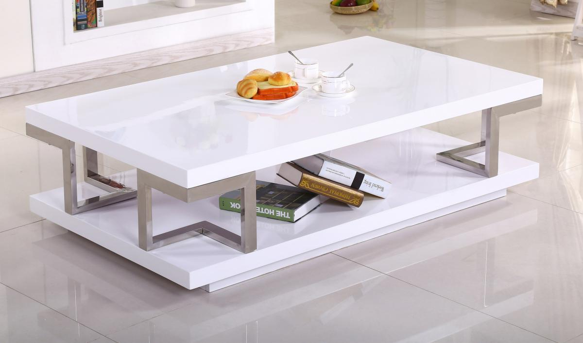 Low White High Gloss Coffee Table Homegenies
