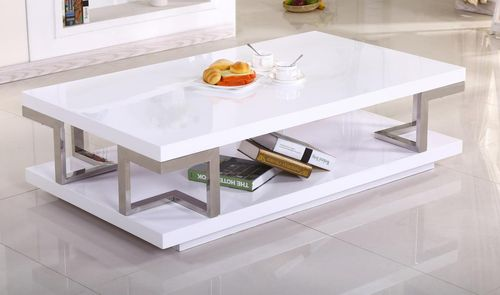 Low white high gloss coffee table