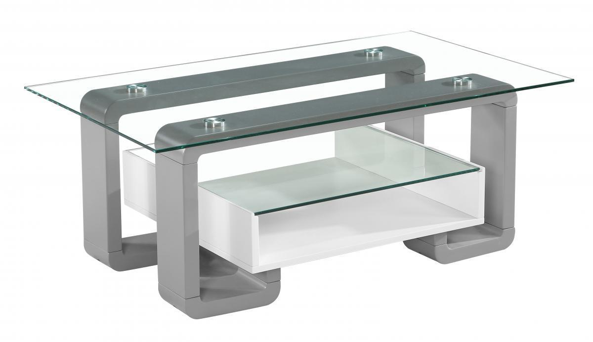 4ab66169b358 Clear glass white and grey high gloss coffee table - Homegenies
