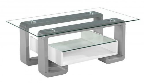 Clear glass white and grey high gloss coffee table