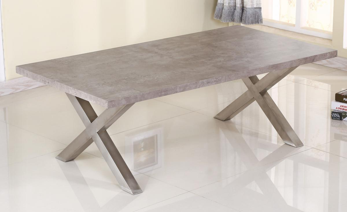 Grey Stone Effect Coffee Table Amp Brushed Steel Legs
