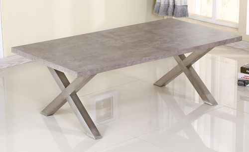 Grey stone effect coffee table with brushed steel legs