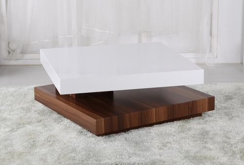 Moveable white high gloss and walnut coffee table