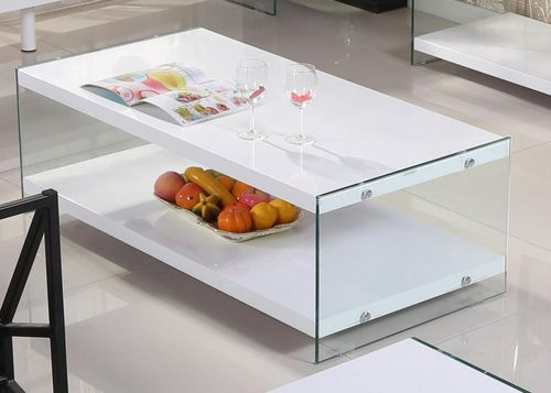 White high gloss coffee table with glass sides